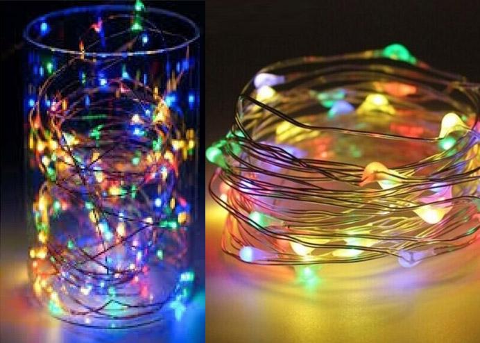 Şeffaf Kablolu RGB 3 Metre Pilli Led Işık