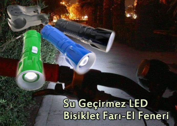 Su Geçirmez LED Bisiklet Farı-El Feneri