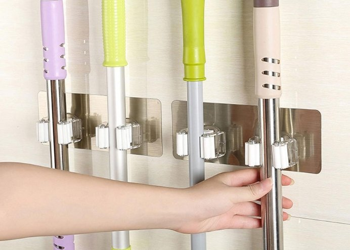 Yapışkanlı Duvara Mop Fırça Sabitleyici Ergonomik Aparat