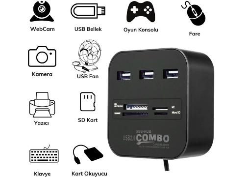 3 Port USB 2.0 Port Çoğaltıcı Adaptör