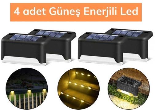 Solar Güneş Enerjili Köşebent Merdiven Veranda Bahçe Led Lamba Işık 4 Adet
