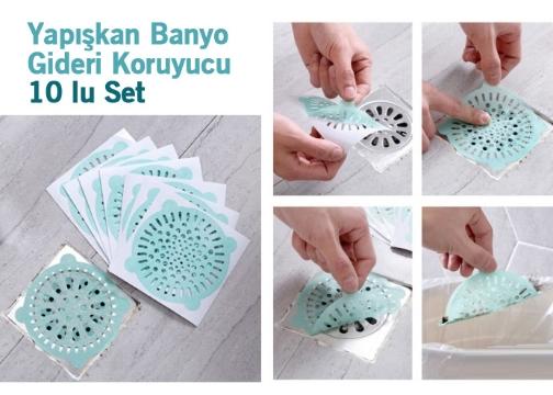 Yapışkan Banyo Gideri Koruyucu 10 lu Set