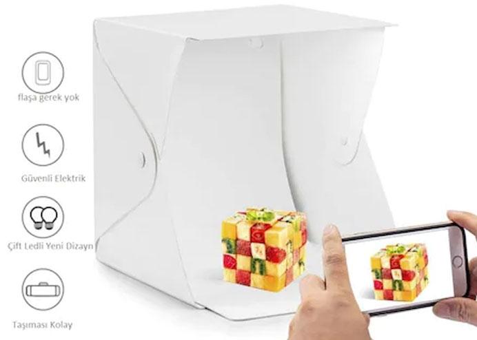 Büyük Boy LEDli Ürün Çekim Çadırı Mini Fon Fotoğraf Stüdyosu (40 cm x 40 cm)