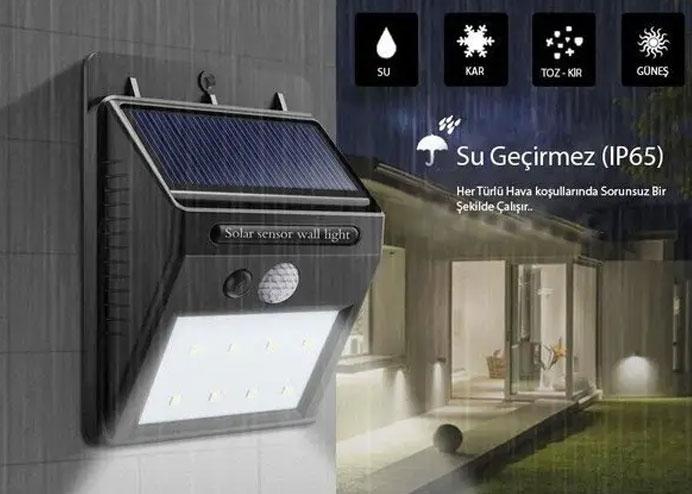 Hareket Sensörlü Güneş Enerjili Led Aydınlatma Dış Mekan Bahçe 20 LED