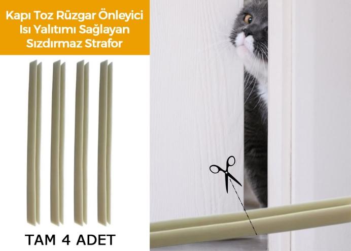 Kapı Toz Rüzgar Önleyici Isı Yalıtımı Sağlayan Sızdırmaz Strafor: 4 Adet