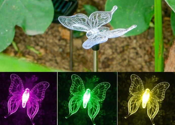 Kelebek Solar Güneş Enerjili Bahçe Lambası RGB 2 Li Set
