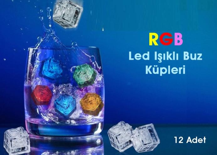 Led Işıklı Buz Küpleri RGB (12 Adet)