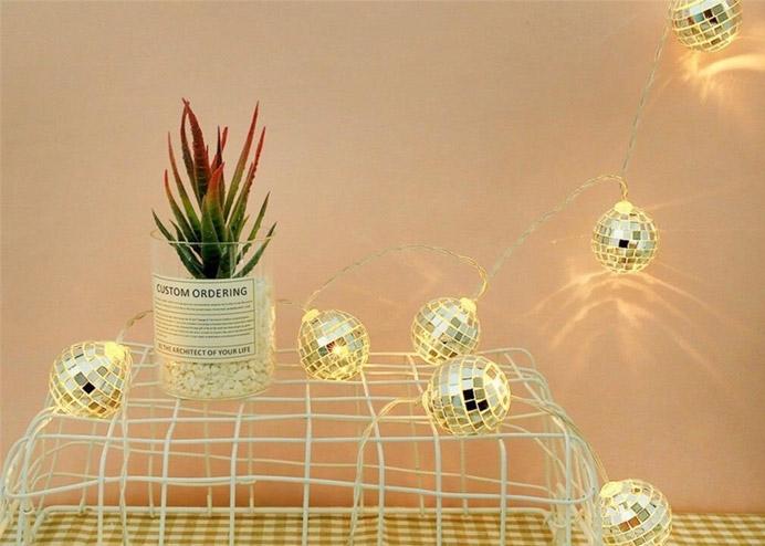 Mini Disco Topu Şeklinde Dekoratif Pilli LED Gece Lambası 10 Lu