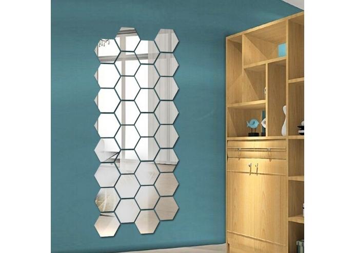 Orta Boy Yapışkanlı Dekoratif Akrilik Ayna Altıgen ( 12 Adet )