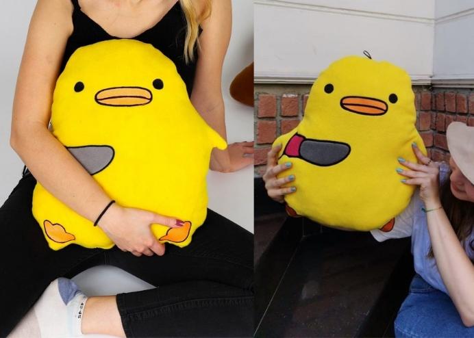 Sevimli Yumuşak Elyaf Sarı Belalı Peluş Civciv Oyuncak Bebek Çocuk Yastık